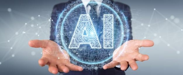 Бизнесмен используя цифровую голограмму значка искусственного интеллекта