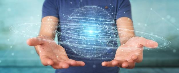 Бизнесмен с помощью цифровой сферы связи голограммы