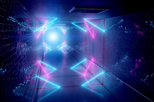 Светящиеся неоновые лампы в подземном фоне