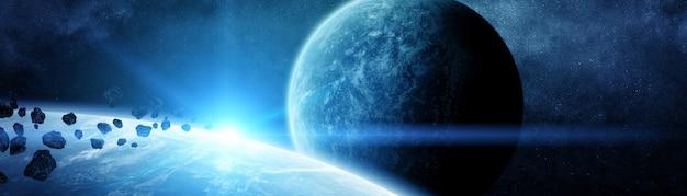 遠くの太陽系の惑星のパノラマビュー