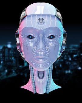 Голова киборга с искусственным интеллектом