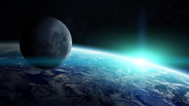 Вид луны вблизи планеты земля в космосе