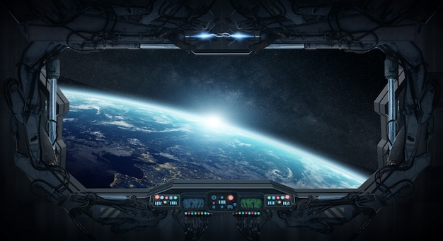宇宙ステーションの中から惑星地球の眺め