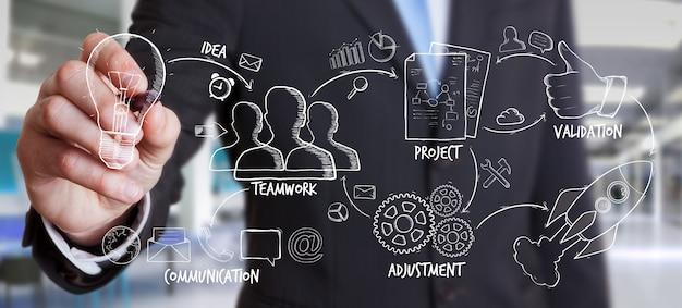 実業家図面原稿プロジェクトプレゼンテーション