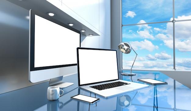 コンピューターとデバイスを備えたモダンなガラスデスクインテリア