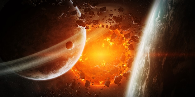 Взрывающееся солнце в космосе близко к планете