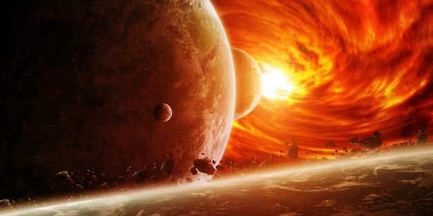 Красная туманность в космосе с планетой земля