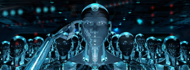 リーダーサイボーグ軍に続く男性ロボットのグループ