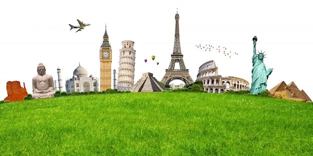 緑の芝生の上の有名な記念碑のイラスト