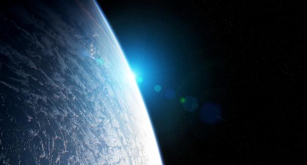 Вид планеты земля крупным планом с атмосферой во время восхода солнца элементы этого изображения, представленные наса