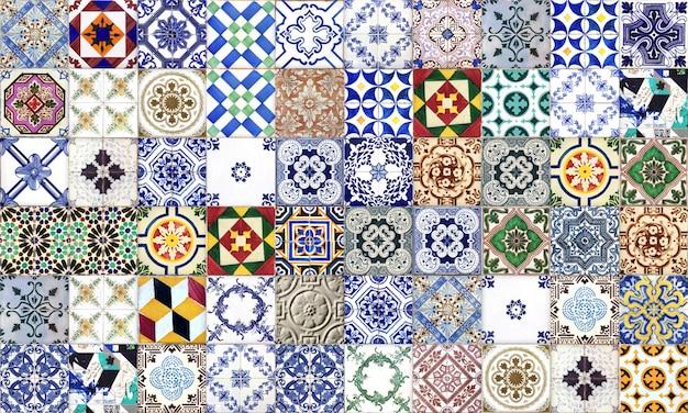 シームレスなポルトガルまたはスペインのアズレージョタイル。高解像度。