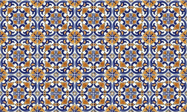 シームレスなポルトガルまたはスペインのアズレージョのタイルの背景