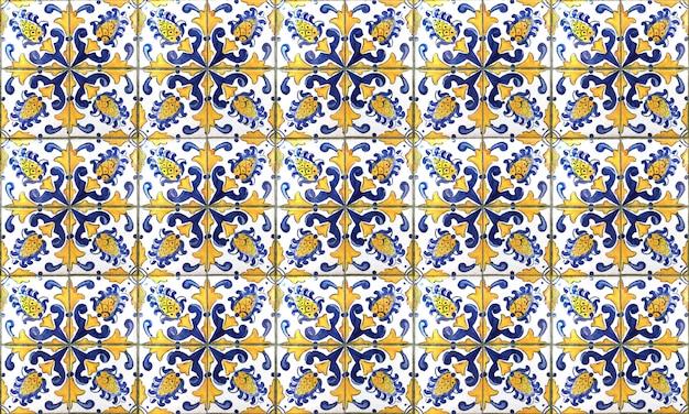 シームレスなポルトガルまたはスペインアズレージョタイル背景。高解像度。