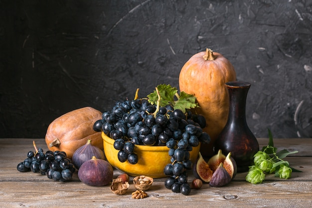 秋の静物画、野菜、果物
