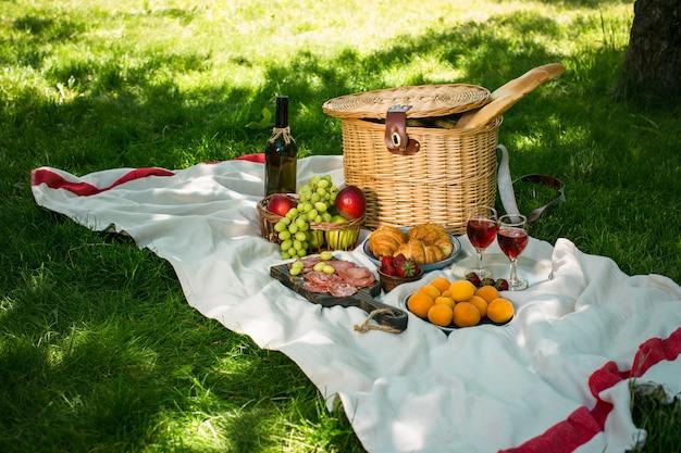 緑の芝生の公園でのピクニック