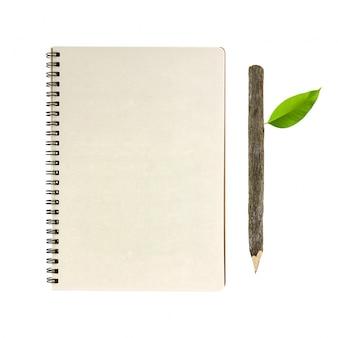 樹皮鉛筆木製のリマインダーノートブックプレーン