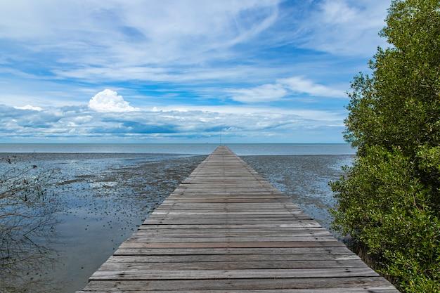 ビーチの長い木製の通路の端