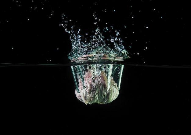 ニンニクを水に落とし、デザイン用にスプレーし、動きながら凍結する。水のしぶきと黒に分離された野菜