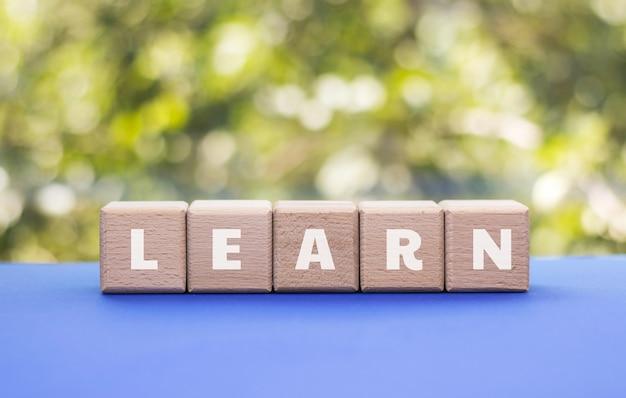 ウッドキューブに書かれた単語を学ぶ。教育、開発、トレーニングのコンセプト。学校に戻る。