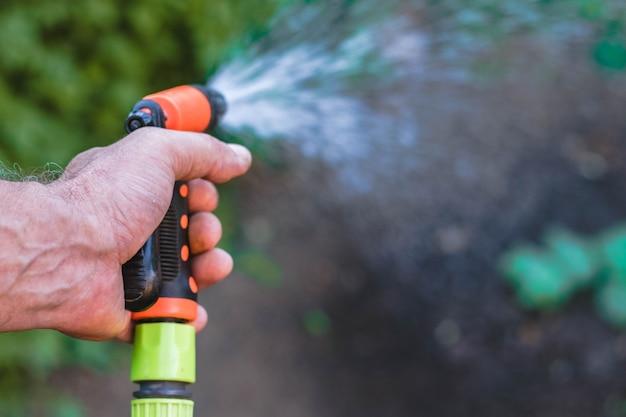 夏の収穫に水をまく庭師の手。ホース噴霧器。水スプリンクラーのクローズアップ。緑の植物。