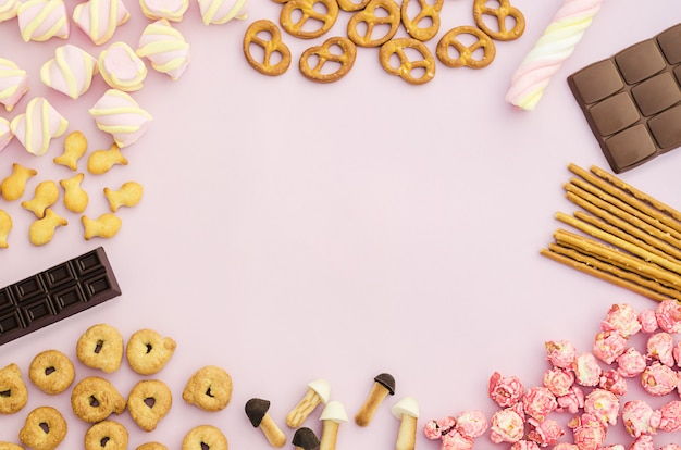 お菓子、キャンディー、マシュマロ、チョコレート、ポップコーン、クッキー