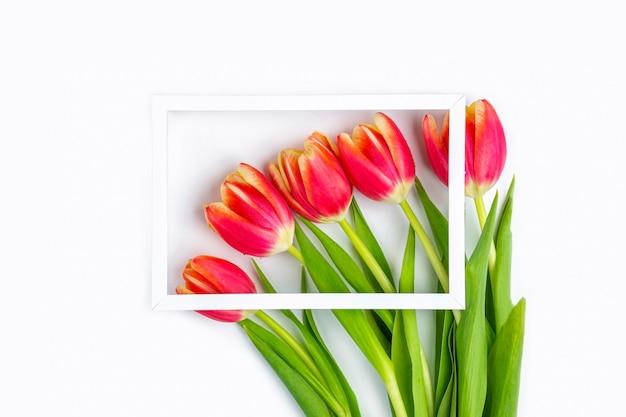 赤いチューリップの花で飾られた白いフォトフレーム。