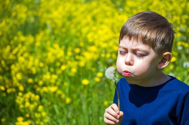 夏の晴れた日に花畑でタンポポを吹き飛ばす少年のポートレートを閉じます