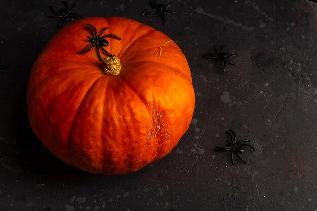 暗い暗にその周りにクモとハロウィーンカボチャ