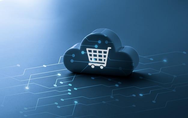 オンラインショッピングのグローバルビジネスコンセプトのショッピングカートとクラウドテクノロジー
