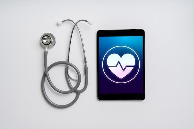 スマートフォンのオンラインヘルスケアアイコンアプリケーション