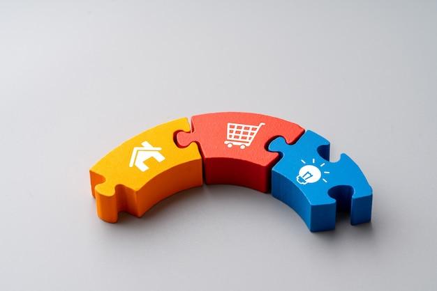 グローバルコンセプトのカラフルなジグソーパズルのオンラインショッピングアイコン