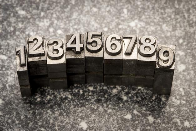 ビンテージ活版アルファベットと数字