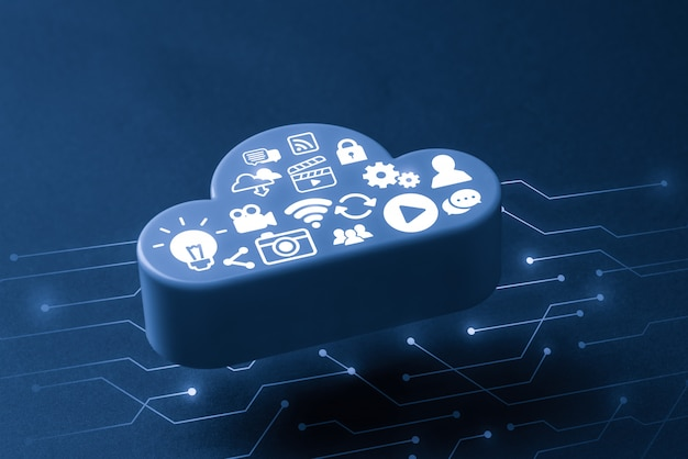 グローバルビジネスコンセプトのクラウドテクノロジーアイコン