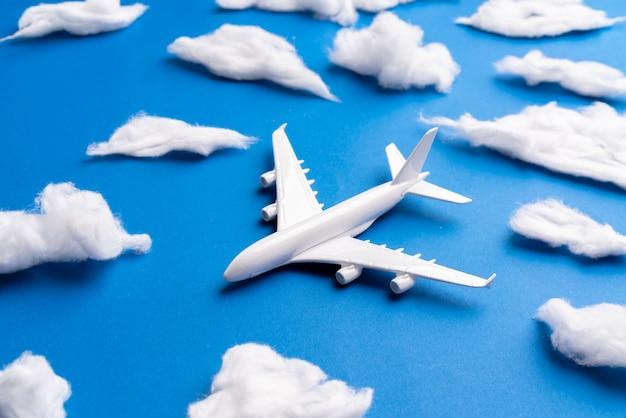 オンラインチケットと観光コンセプトの飛行機モデル