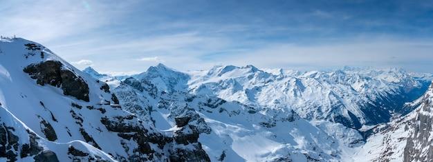 夏には、スイスのティトリス山のパノラマ