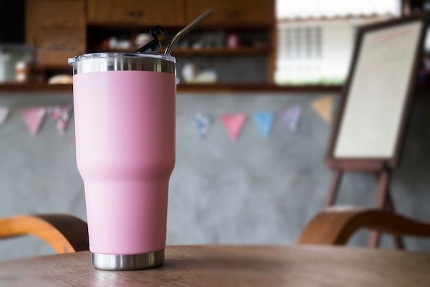 金属製ストロー付きステンレス鋼製の魔法瓶タンブラーマグカップ