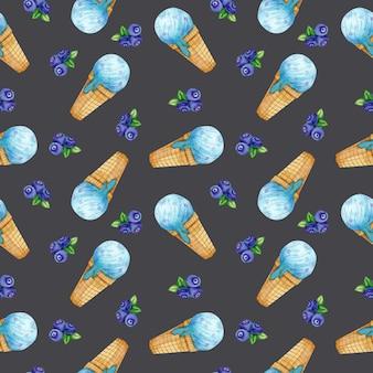 ブルーベリーアイスクリームと水彩のシームレスパターン