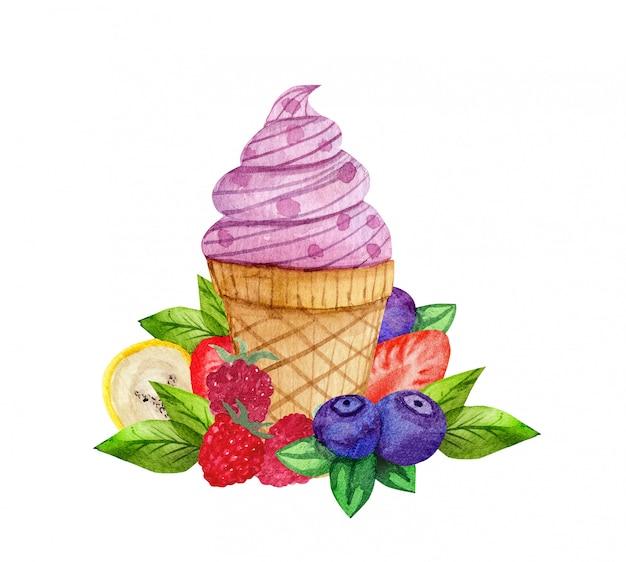 アイスクリームと水彩の組成
