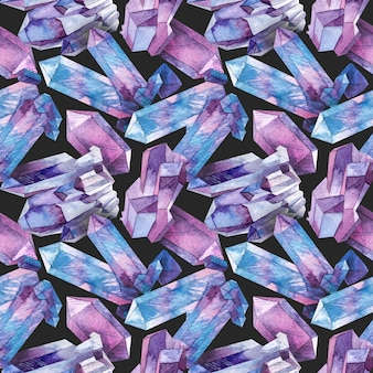 Бесшовные с акварельными кристаллами