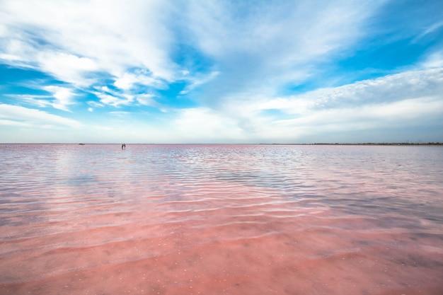 クリミア半島のピンクの湖