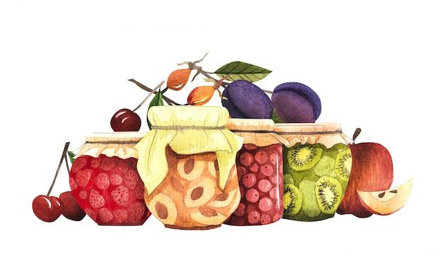 秋のデザインのための秋の収穫の構成。きのこ、フルーツ、ベリー、ジャム
