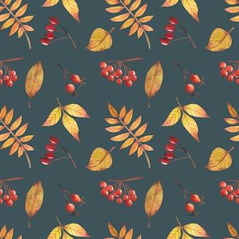 秋のデザインの装飾とスクラップブッキングのための紅葉とのシームレスなパターン。