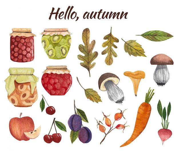 収穫、野菜、果物、ジャム入りの秋。きのこ。秋のデザインの設定