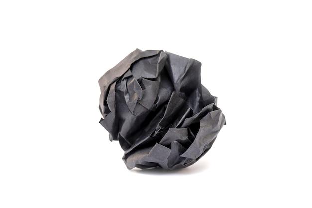真っ黒な紙がボールのようにくしゃくしゃになって、しわが寄った紙の質感、