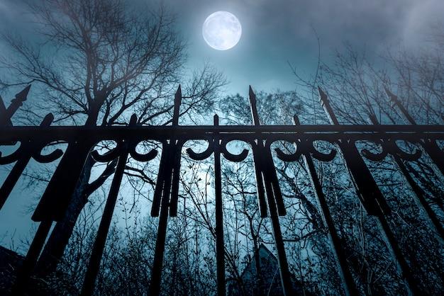 Ужастик. железный забор и лунный свет. кошмар над заброшенным домом. ночное время с туманом и луной.