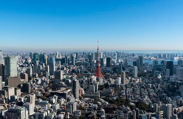 東京タワーと東京の街並み、東京、その日のパノラマビュー