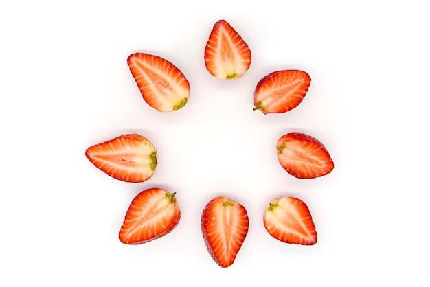 イチゴの部分、スライス、イチゴの半分