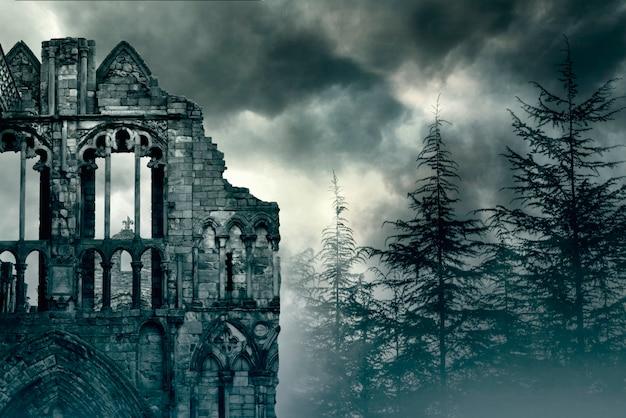 イギリスの古い城の遺跡