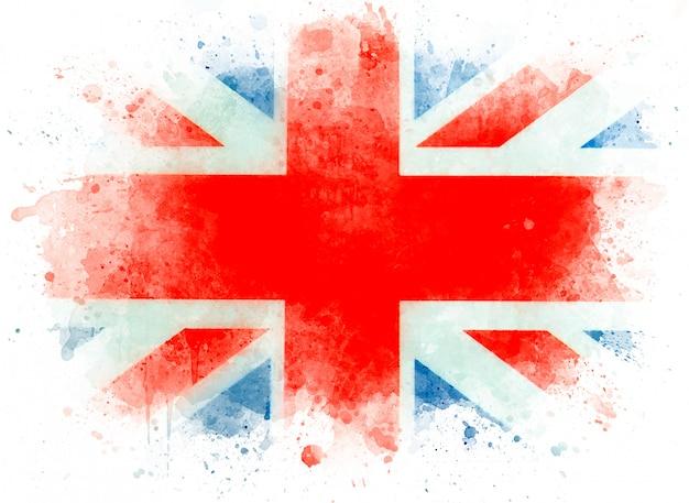 イギリスの水彩画の旗。英語の旗、白い紙、イラストのイギリスまたはイギリスの旗