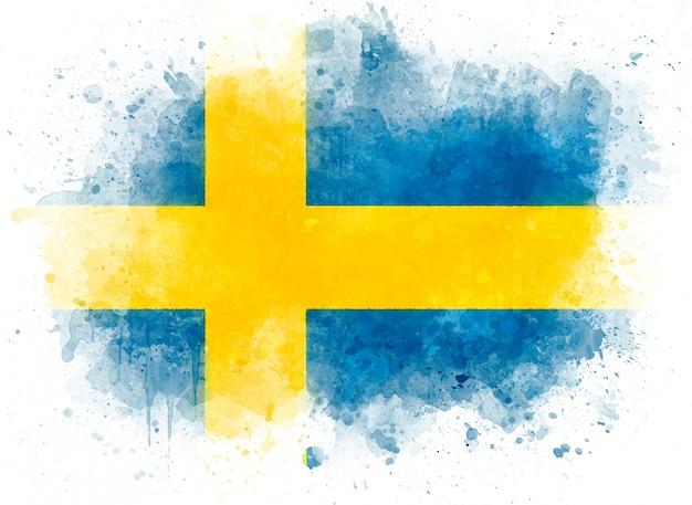 Иллюстрация флаг швеции, акварельный флаг на белой бумаге